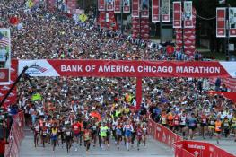 The start of the Chicago Marathon