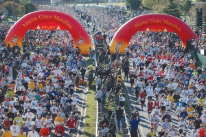 Runners start the Marine Corp Marathon in Arlington, VA