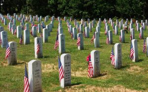 Flags decorate the graves of the fallen.