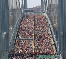 Runners cover the Verrazano Narrows Bridge to begin the New York City Marathon