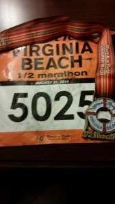 2014 VA Beach Half Medal and Bib