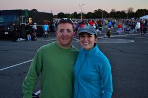Morgan and I before the race. Check out my great green goodwill sweatshirt!