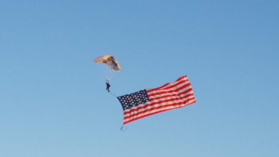 Sky Diver with the Flag